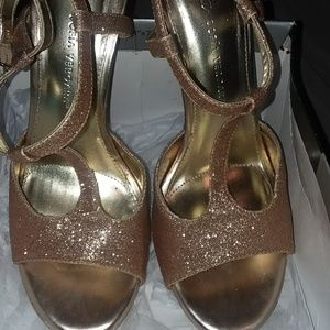 Gold, sparkle ankle heels